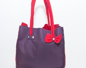 Fleece two-tone reversible tote bag