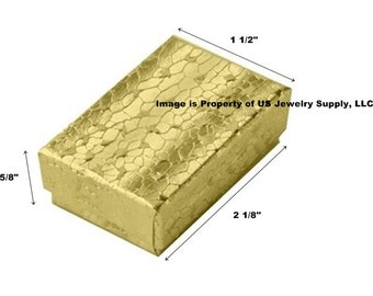 "100 Small Gold Foil Cotton Filled Jewelry Packaging Craft Gift 2 Piece Boxes 2 1/8"" x 1 1/2"" x 5/8"""