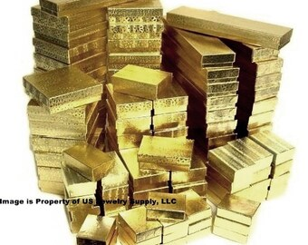 200 Assorted Size Mix Gold Foil Cotton Filled Jewelry Display and Gift 2 Piece Boxes