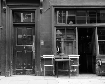 London Photography, Black and White, English Cafe, Soho, Fine Art Print, British Decor, Kitchen Decor, Home Decor, Travel Photo, Wall Art