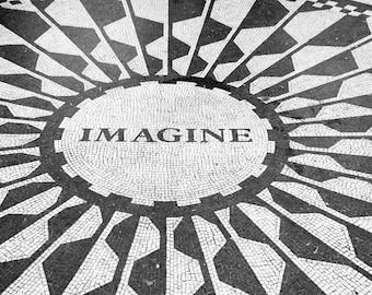 New York Photography, Black and White, Imagine, John Lennon, Central Park, Strawberry Fields, Beatles, Wall Art, Matted Print