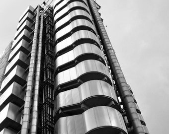 Black and White Architecture Photography, London, Lloyd's Building, Urban, Contemporary, Modern, Wall Art, Vertical Print
