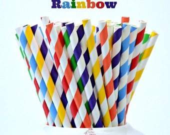 Paper Straws- Rainbow Straws, Striped straws 24 Piece