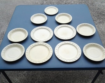 Vintage 1950's Set of 4 Adams Titian Ware Royal Ivory Salad Bowls & Plates/Made in England