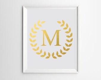 Custom Name, Initial Art Print, Personalized, Nursery Custom Art, Name Print, Gold Foil, Wall Art Prints, Monogram, Art Print, Printable