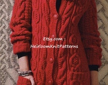 549) Ladies Long Cable Jacket/ Coat, Vintage Chunky/ Bulky/ 12 ply Knitting Pattern, Instant Download PDF