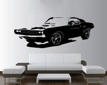 Large Car Dodge Challenger Muscle Wall Art Decal Mural Sticker Bedroom Living Lounge Kitchen