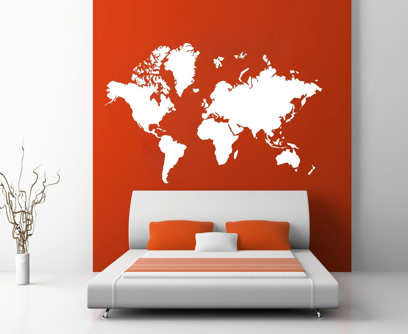 Large world map atlas wall art decal mural sticker bedroom for Environmental graphics giant world map wall mural