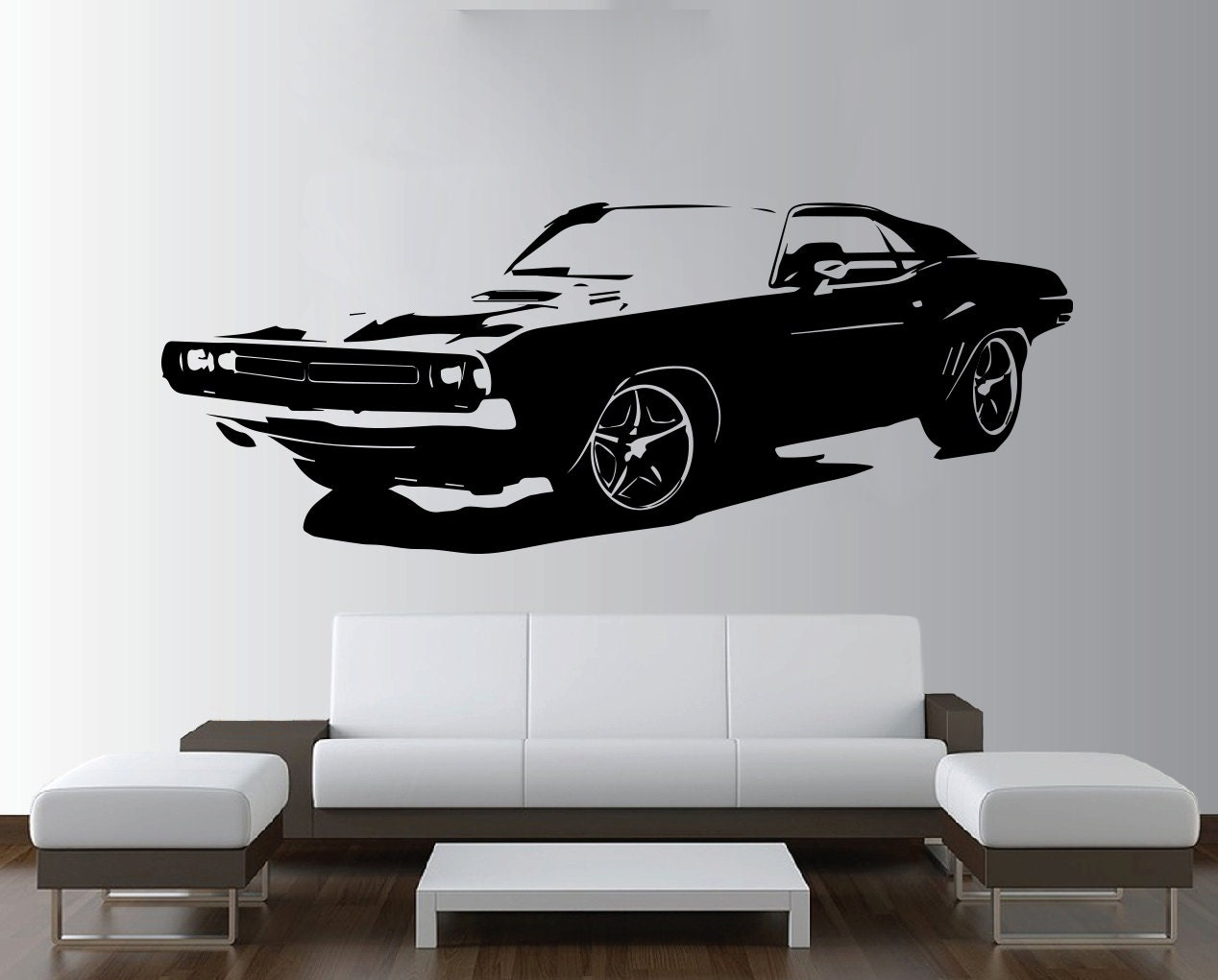 Large car dodge challenger muscle wall art decal mural sticker for Autocollant mural