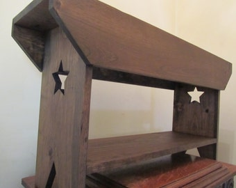 Primitive Star Bench, Wedding Bench, Country Farm Bench