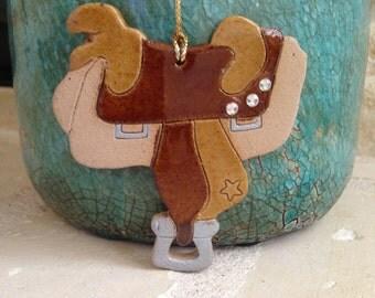 Rhinestone Saddle Ornament Saddle Christmas ornament Rustic Western handcrafted ornament