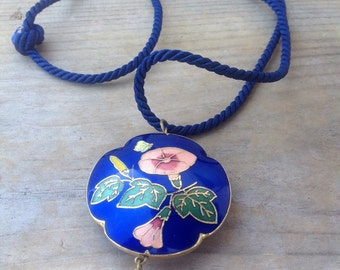 Vintage blue cloisonné flower and butterfly pendant with rope necklace.
