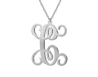 """One Letter Necklace,Single Initial Necklace,Personalized Initial Necklace,1"""" inch Silver One Letter Necklace-%100 Handmade"""