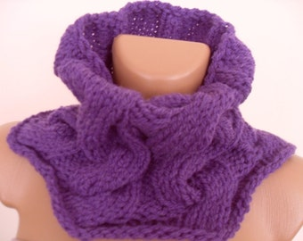 Warm knitted scarves purple soft wool yarn. Suitable accessory for any coat or jacket.