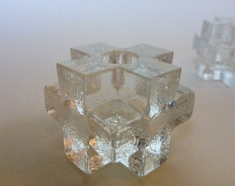 Vintage Glass Swiss Cross, Cubed Candleholders Set of 6