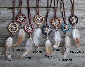 Dreamcatcher Necklace - Pick a color - Boho Jewelry - Small Dream Catcher - Hippie - Bohemian - Festival