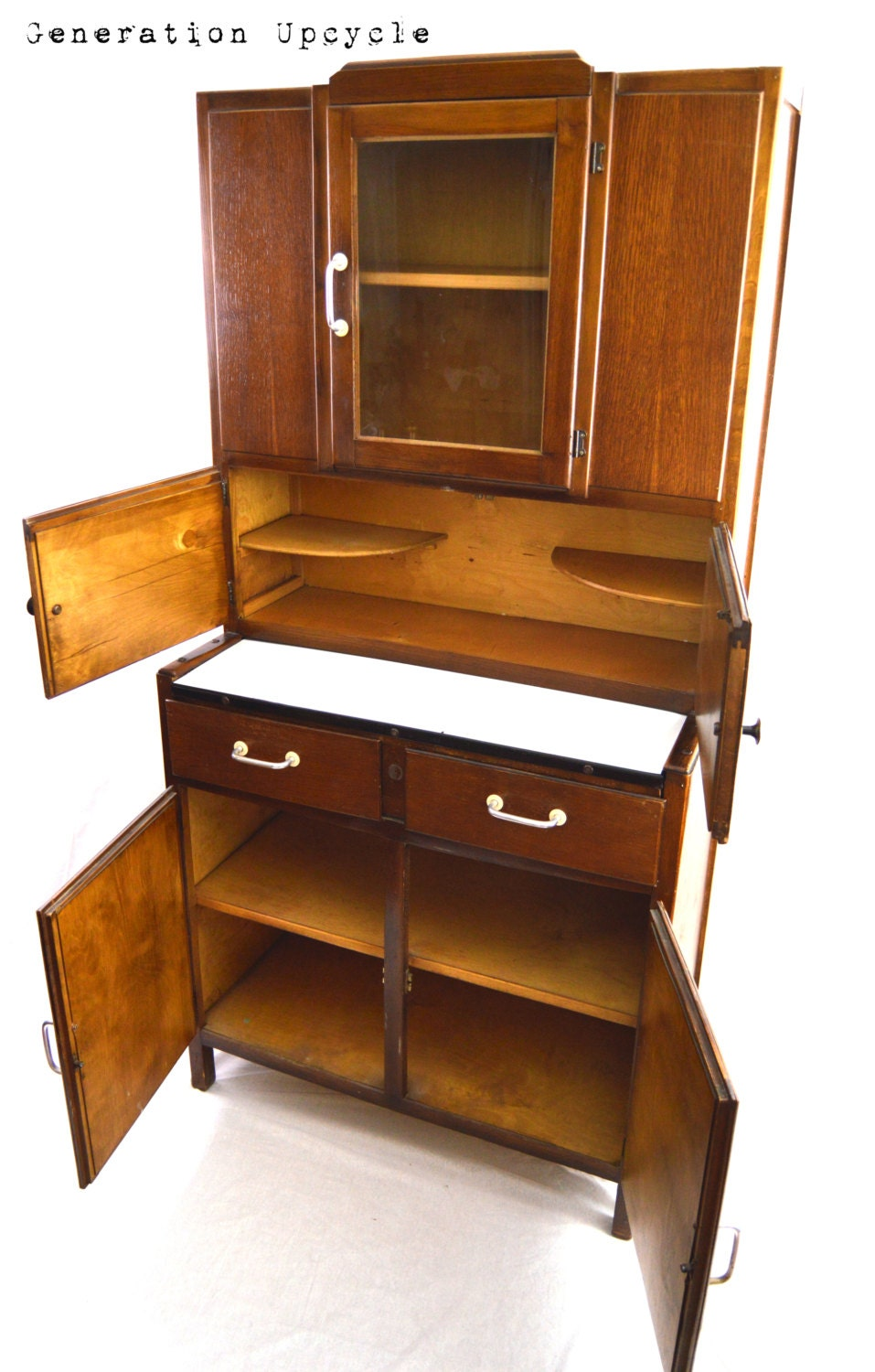Hoosier cabinet small 1920 39 s vintage hoosier by for 1920 kitchen cabinets
