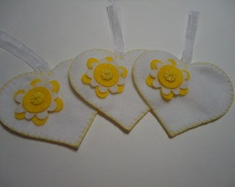 3 white felt heart ornaments, felt heart with yellow flowers, handmade felt heart, white felt heart, flower heart holiday decorations #C025