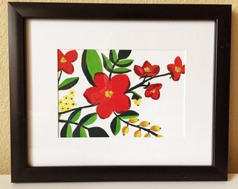 Original Slavic Folklore Inspired Gouache Floral Painting #3