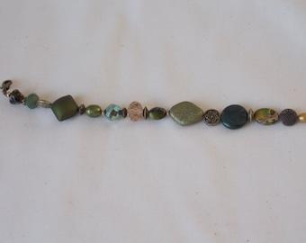 Bracelet Sage Green Bracelet with Gold Accented Spacer Beads  BR3