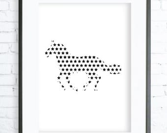 Instant Download Printable, Star Horse Print Art,  modern art, digital art, Print, horse art, horse print