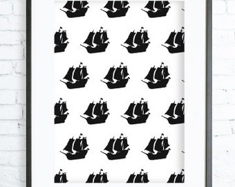 Instant Download Printable, Pirate ship Print Art,  modern art, Pirate ship, Pirate ship print, black and white graphic art print