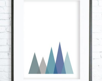 Instant Download Printable, Turquoise Triangles Art Print, Modern Art Prints, Home Decor,  Bedroom Art, Dining Room Art, office artwork