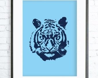 Blue Tiger Poster ,Blue Tiger print Art,Tiger Face, Instant Download Printable, Blue Tiger Print Art, Tiger Wall Decor, Tiger Art Print