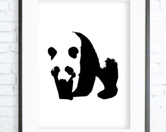 Panda Art, Panda Wall Art, Panda Artwork, Printable Panda Art, Panda Prints, Panda Decor, Download Panda, Black and White Animal