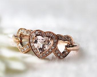 New Design Romantic Heart Shaped Morganite Ring 14k Rose Gold Lovely 0.4ct Heart  Morganite Halo Diamond Engagement Ring  Valentine's Day