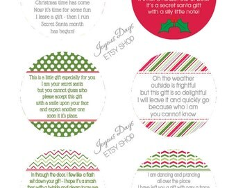 Instant Download - Digital File - Secret Santa Gift Tags/Labels - Set ...