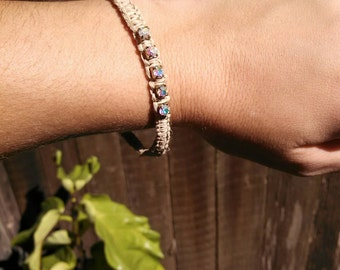 Unique hemp bangle bracelet with rainbow rhinestones - boho chic