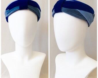 Vintage 50s Blue Velvet Turban Pillbox Hat // 1950s vintage pilbox woven blue velvet hat