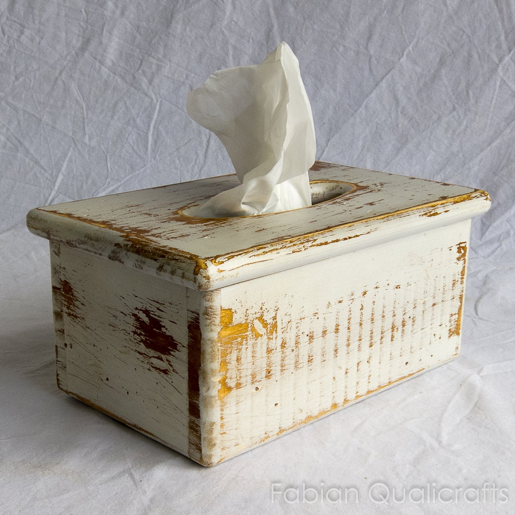Wooden Tissue Box Cover Rectangular Rustic Style By Fqcrafts