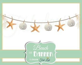 Beach Clipart, Star fish, Sand Dollar Banner, Digital Clipart, Rustic, Clothes Line, Scrapbook, PNG