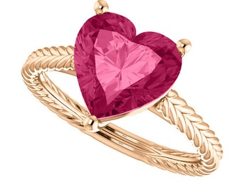 14kt Rose Gold Pink Topaz Heart Shape Solitaire Engagement Ring with Braided Design, 9x9mm (2.41 carats)