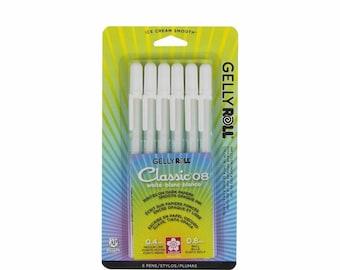 6 White Sakura Pens; Sakura Gelly Roll Classic Pens; Medium Point (0.4mm line/0.8mm ball) Anime, Manga, Illustration, Drawing, Scrapbooking