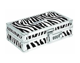 Locking Pencil Box, Pencil Case, Pencil Holder; Art, Drawing Supplies; Zebra Camo