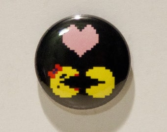"""Pac-Man and Ms. Pac-Man """"Pac-Love"""" 1"""" Pinback Button"""