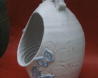 Handmade and decorated stoneware salt pig 18cm x 11cm