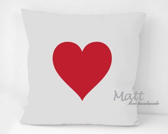 Playing card suits Pillow Cover set, Heart, Diamond, Spade, Club, red heart card suit on white cushion, Wall Decorative pillow, Throw pillow