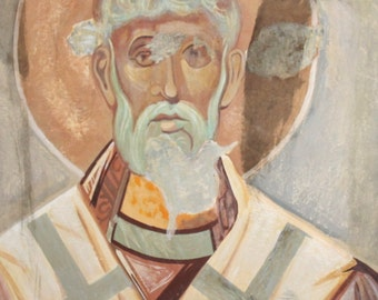 Vintage Bulgarian religious oil portrait painting Orthodox icon