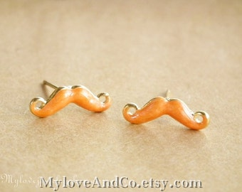 Orange Mustache Stud Earrings, Birthday gift, Anniversary gift