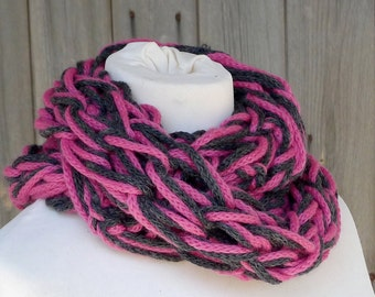 Merino Snood: charcoal & bright pink