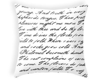 Black and white handwriting poem throw pillow cover. Black and white cushion typography cushion typography pillow Black and white pillow