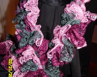 Hand Crocheted Gray/Pink/Fushia Sashay Ruffle Scarf
