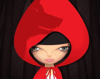 print of  original - pop surrealism art  - red riding hood