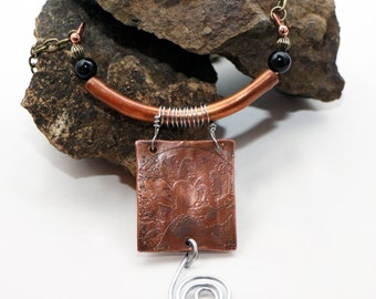 SALE - Etched Copper Pendant Necklace, Jewelry Necklace, Boho Chic Pendant Necklace