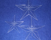 "3 Piece Set Quilting Stars 1/8""  Clear Acrylic  4"", 5"", 6"""