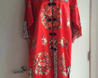 Gorgeous Red Vintage Chinese hand embroidered silk robe Flower Asian Antique kimono jacket